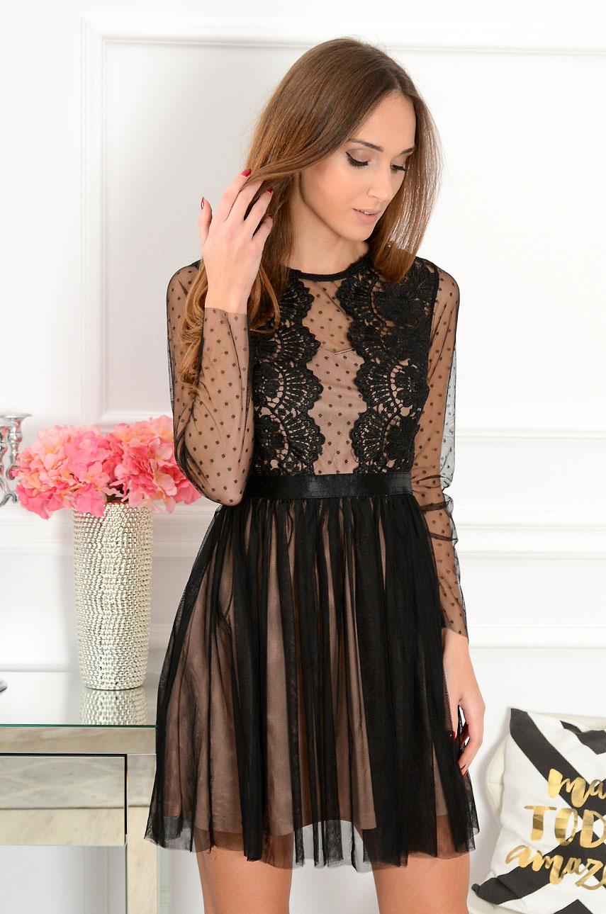 58ea91ea2a Sukienka z koronki i tiulu Nixie czarno-beżowa długi rękaw