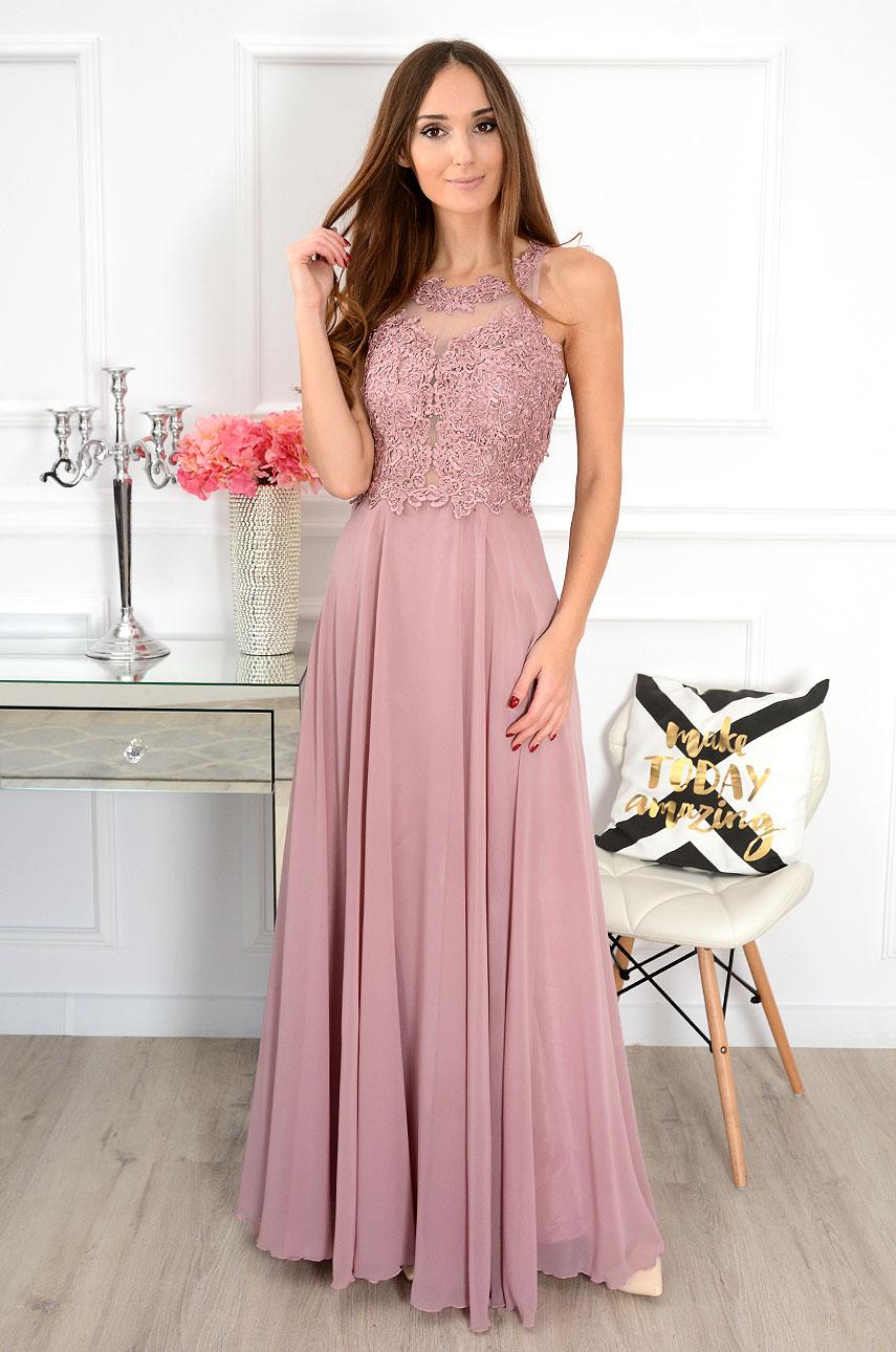 Sukienka maxi z gipiurą Cheryll brudny róż