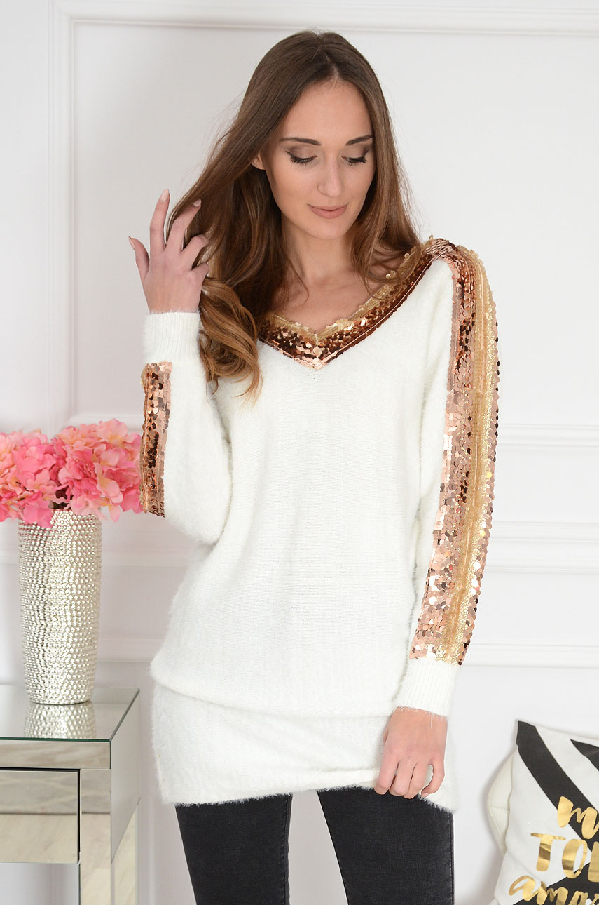 Długi sweter w serek z cekinami kremowy Bao Rozmiar: UNI