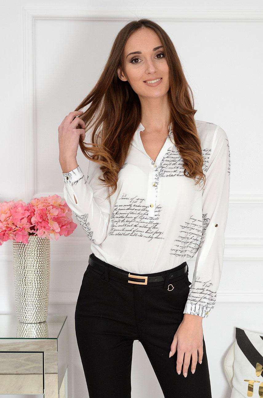 0903a6ebac9373 Bluzka koszulowa w napisy Kaia biała Sklep internetowy cocomo...