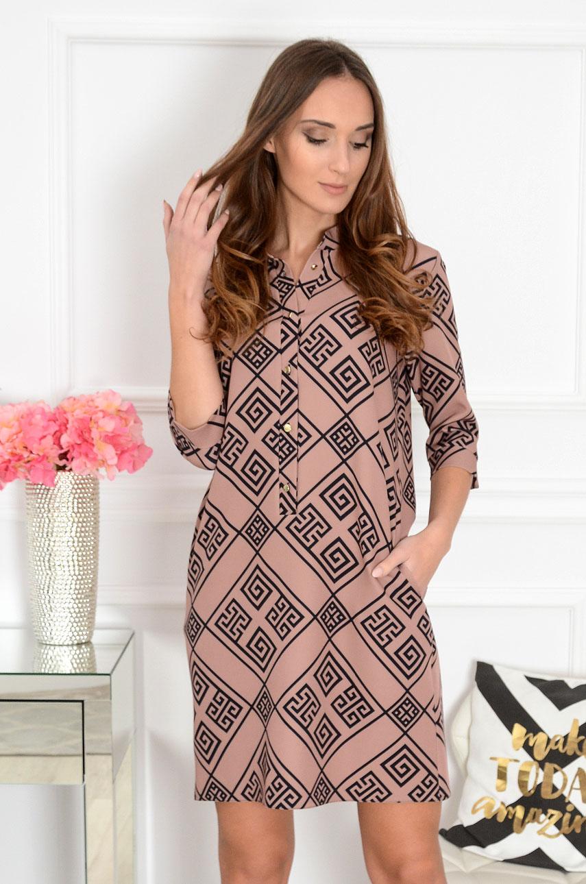 Sukienka ze stójką beżowa we wzory Angie Rozmiar: S