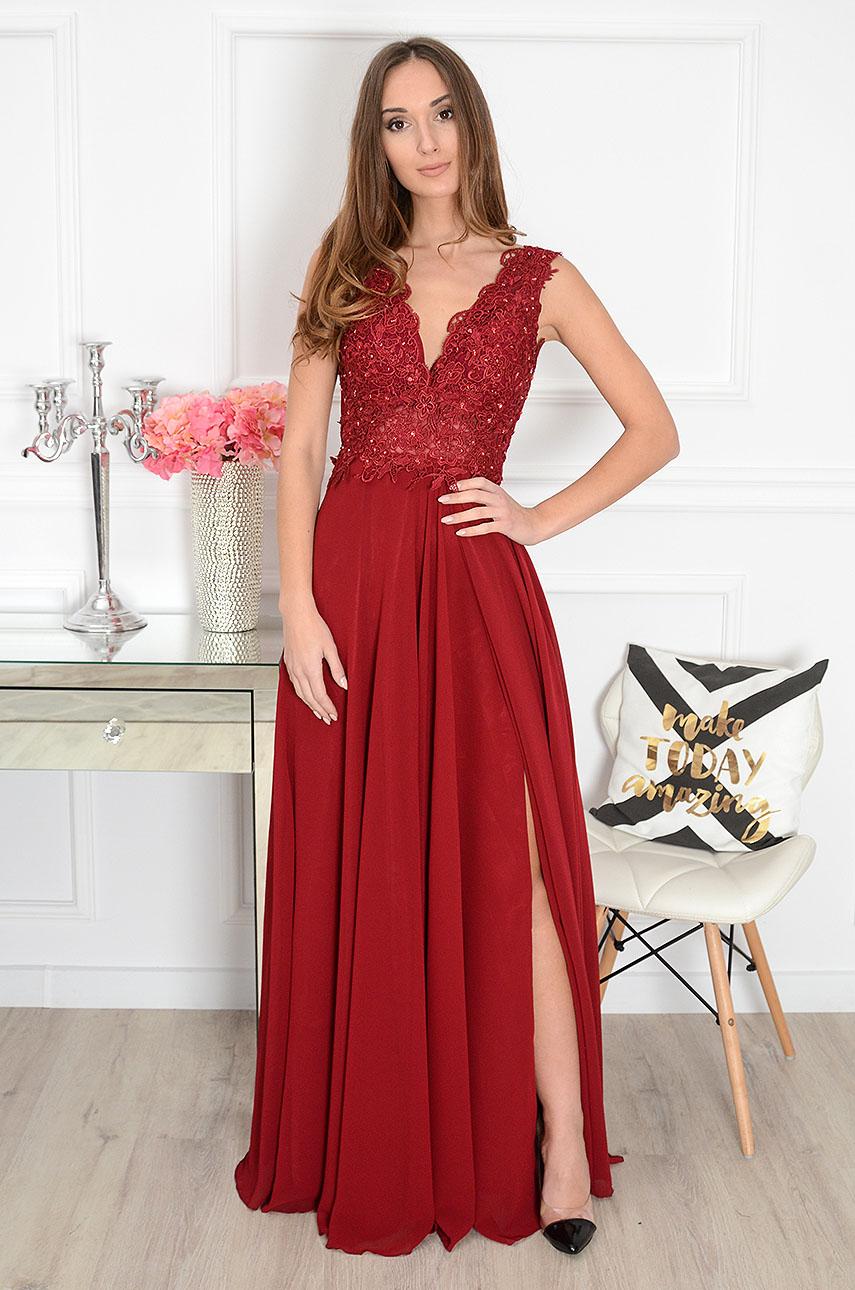 Sukienka maxi z gipiurą burgund Iberia Rozmiar: 3XL
