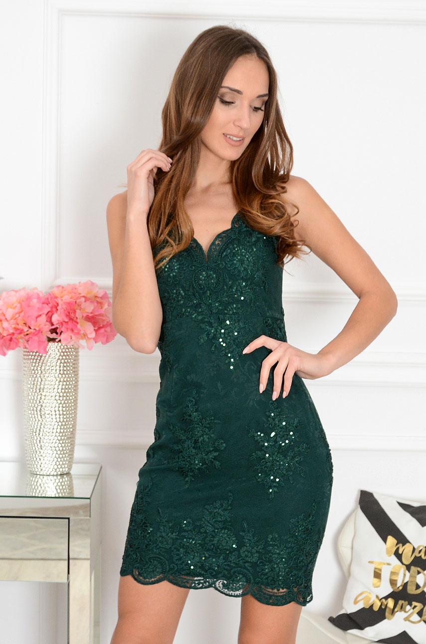 Sukienka z koronki ciemna zieleń Arletta Rozmiar: S