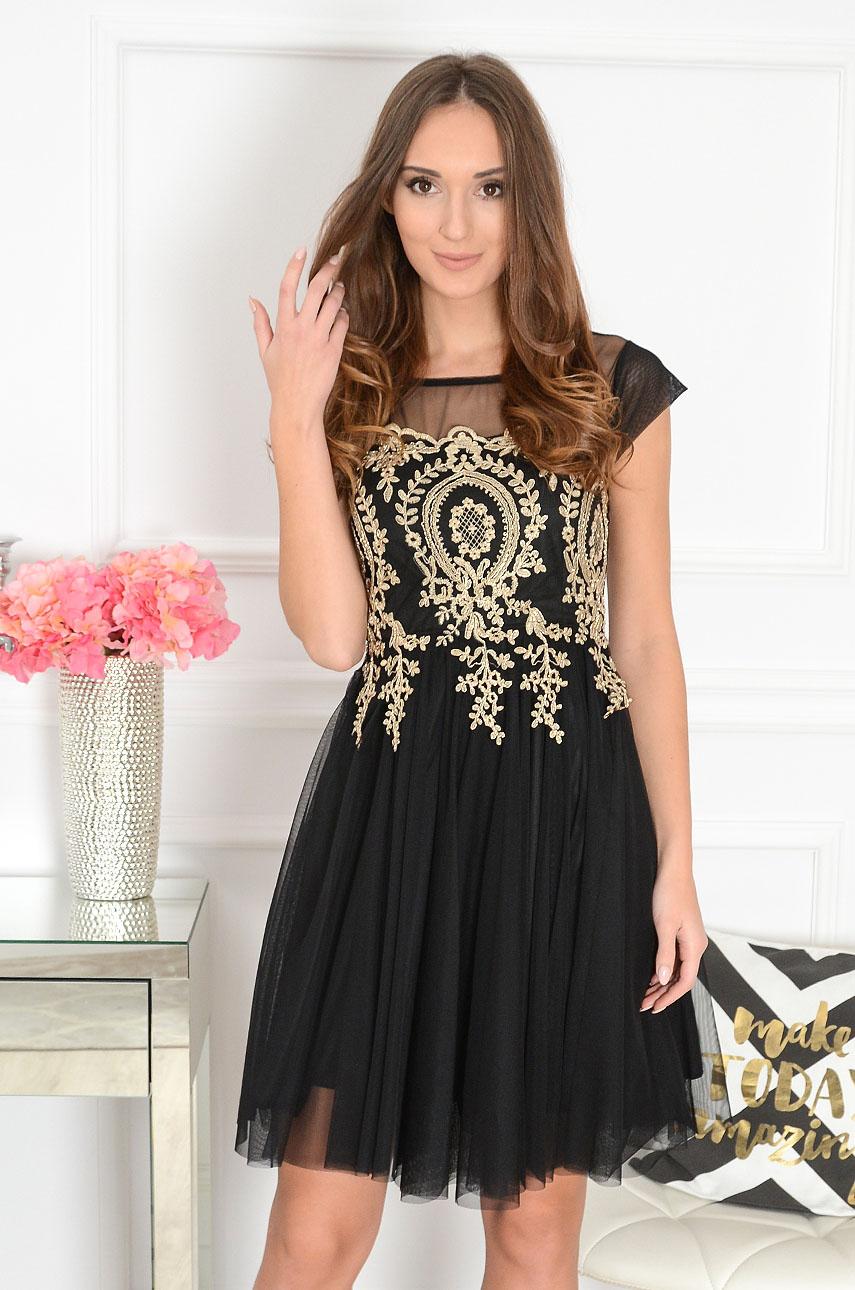 Sukienka z tiulem złote hafty czarna Sorento