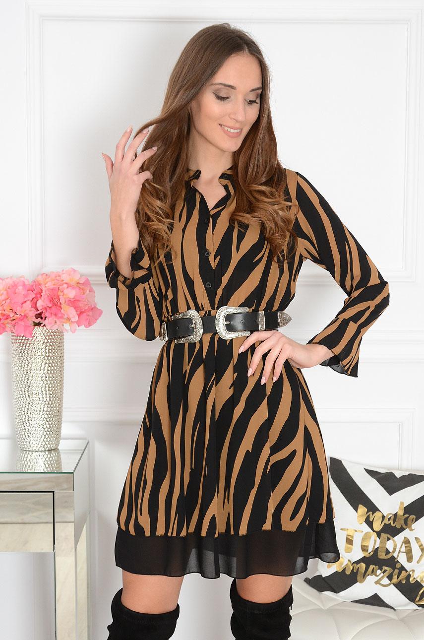 ac62b092a2 Sukienka szyfonowa w zwierzęcy wzór kamel Zebra - Cocomoda.pl...
