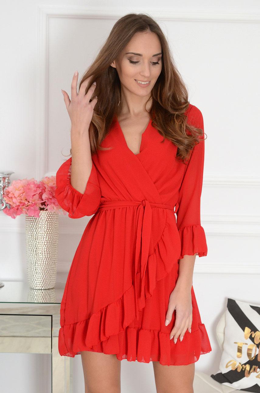 Sukienka kopertowa szyfonowa czerwona Danissa