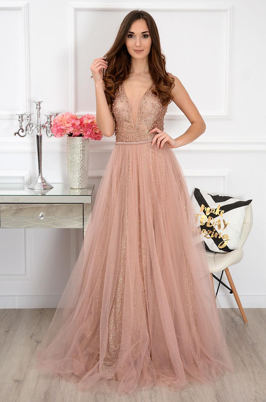 Sukienka maxi z tiulem brudny róż Palatea Rozmiar: M