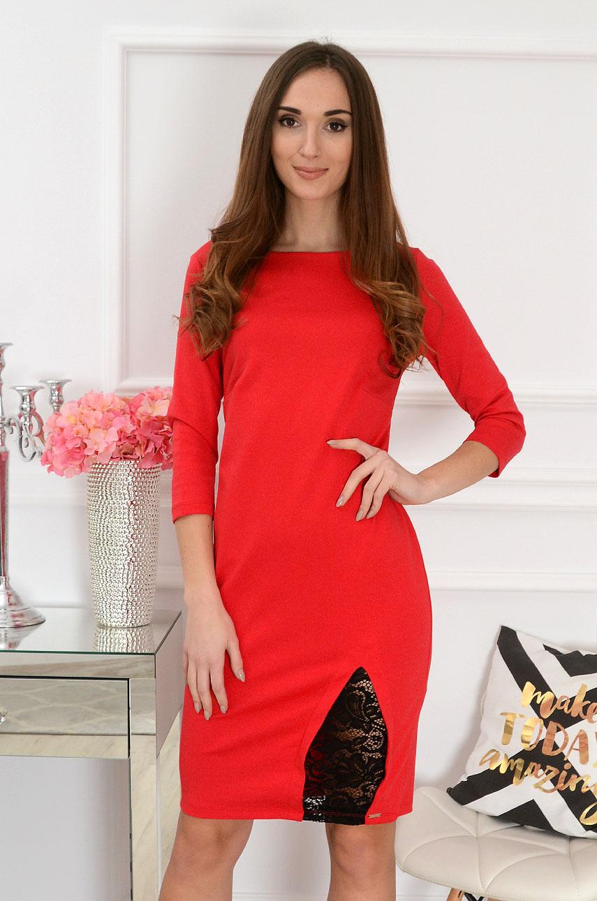 Sukienka taliowana z koronkową wstawką czerwona Rozmiar: XL