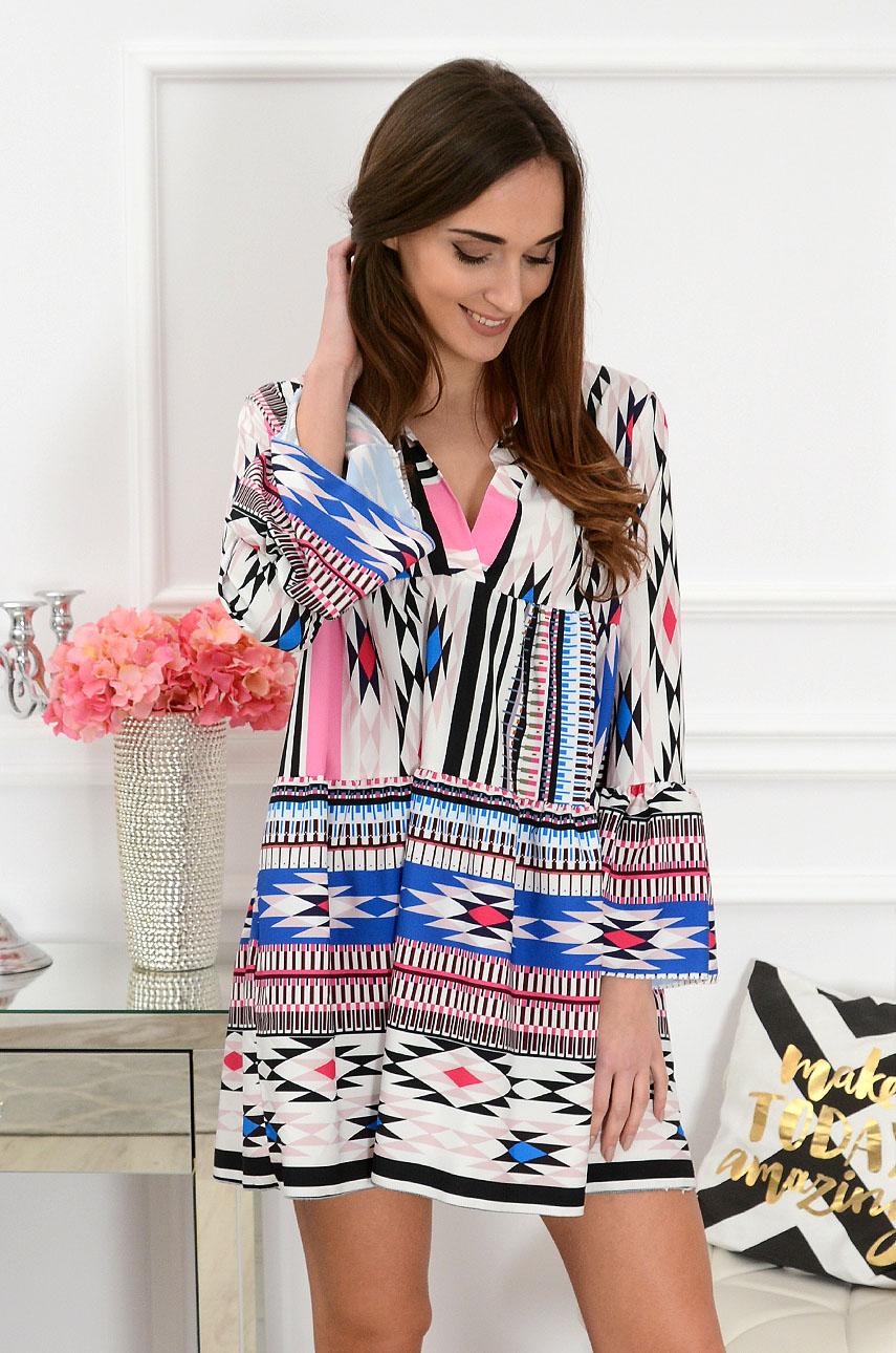 Sukienka oversize z falban we wzory multikolor Folly Rozmiar: UNI