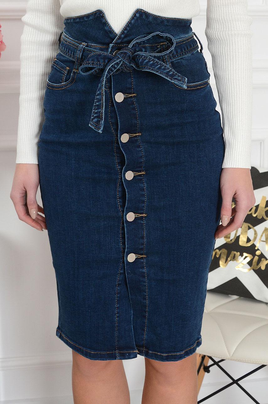 685b4086 Spódnica jeansowa midi wysoki stan na guziki