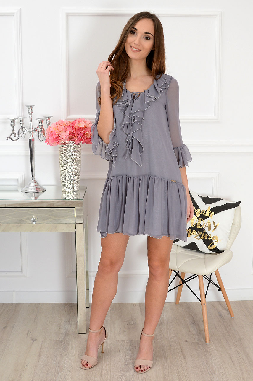 4ed55da5c8 Sukienka szyfonowa z falbanami szara sklep internetowy cocomo...