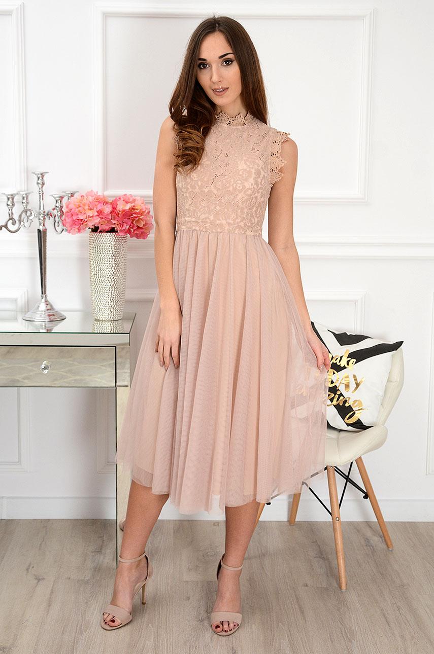 9c116f71756 Sukienka midi z koronki i tiulu brudny róż Diori