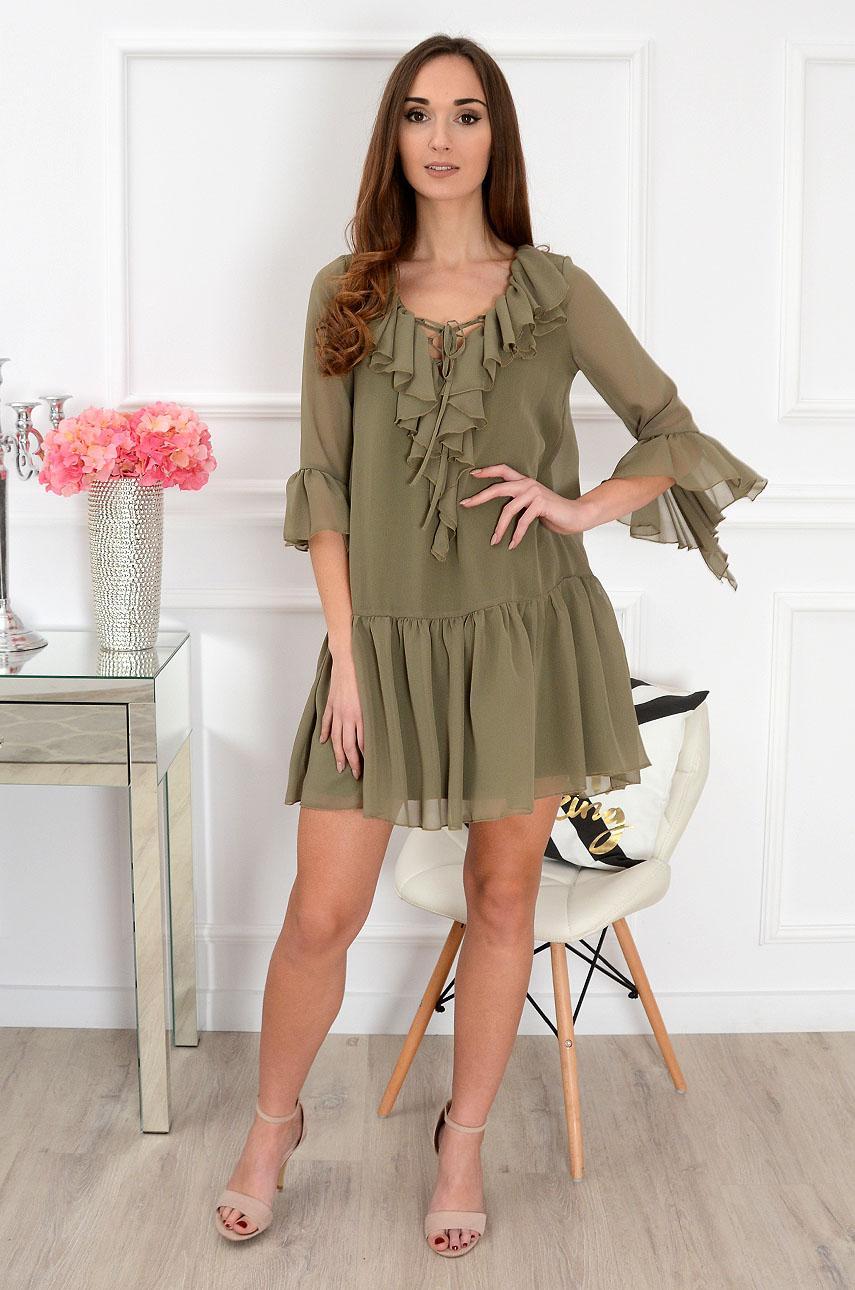 177f5f428a Sukienka szyfonowa z falbanami khaki sklep internetowy cocomo...