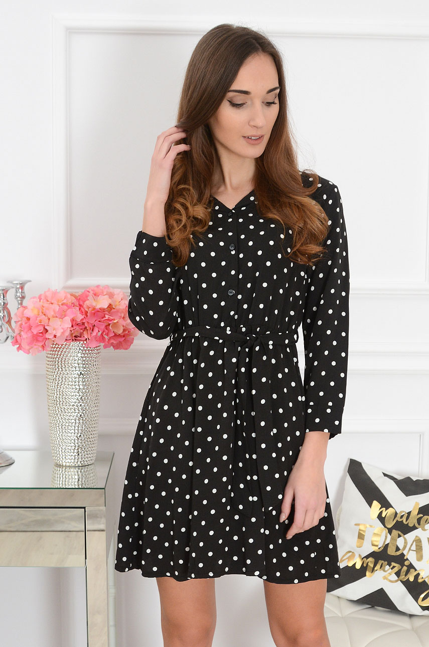 Sukienka w groszki czarna Candy Dots