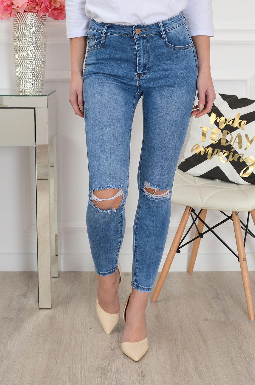 Spodnie jeansowe wysoki stan z dużymi dziurami