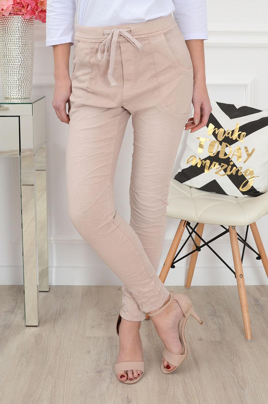 Spodnie jeansowe a'la dres pudrowy róż Rozmiar: XS