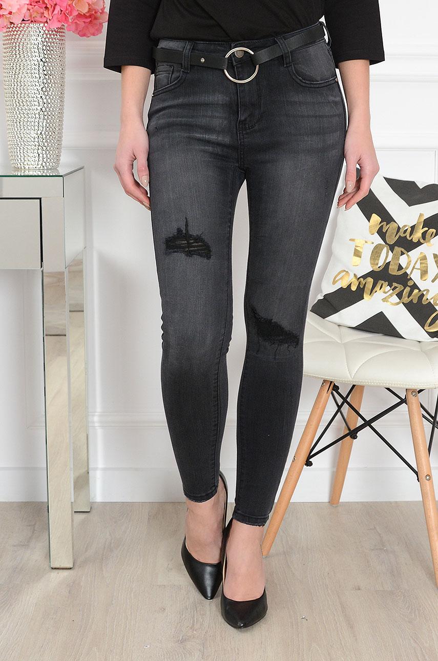 Spodnie jeansowe wysoki stan z dziurami grafit Rozmiar: XS
