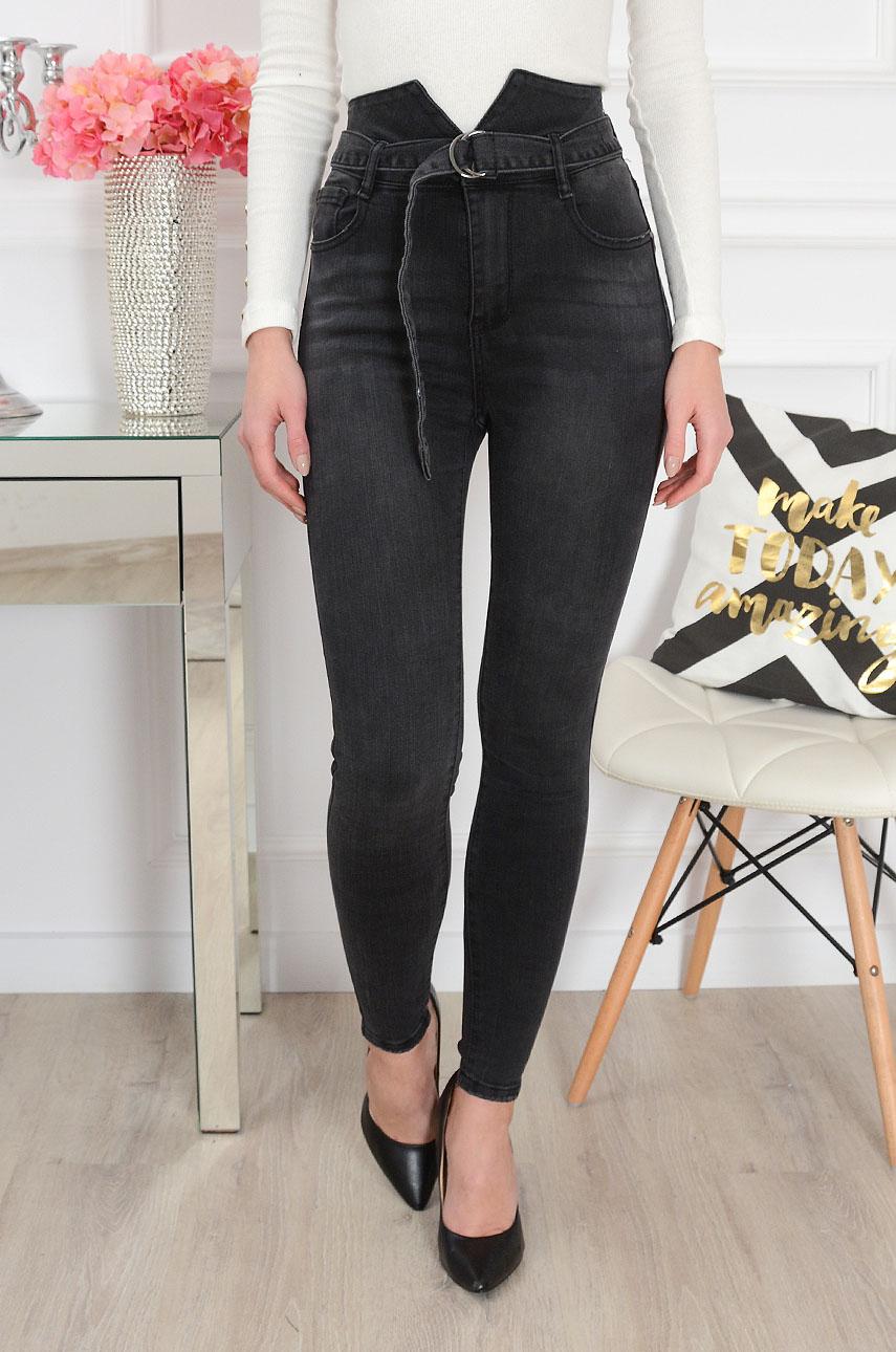 Spodnie jeansowe z podwyższonym stanem grafit Rozmiar: XS