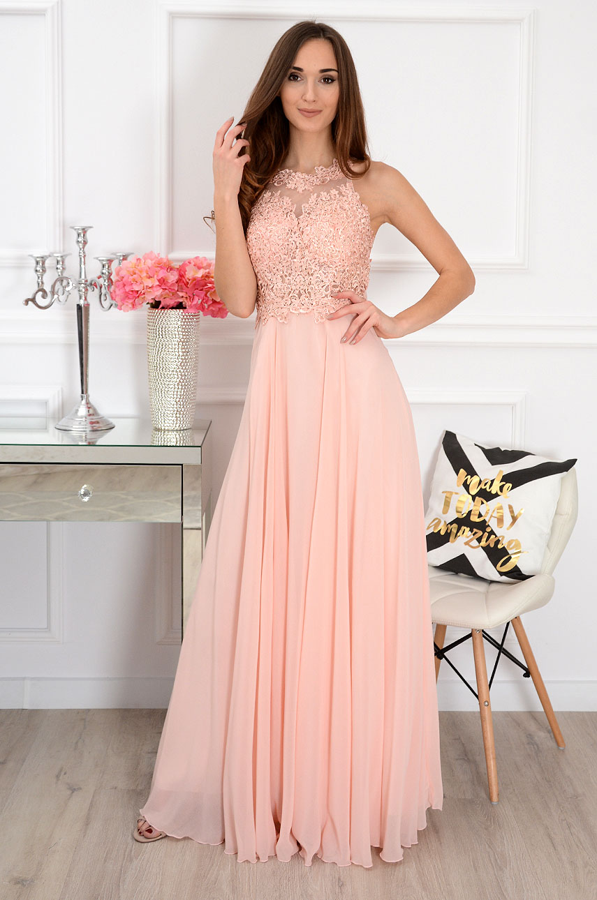 Sukienka maxi z gipiurą pudrowy róż Cheryll