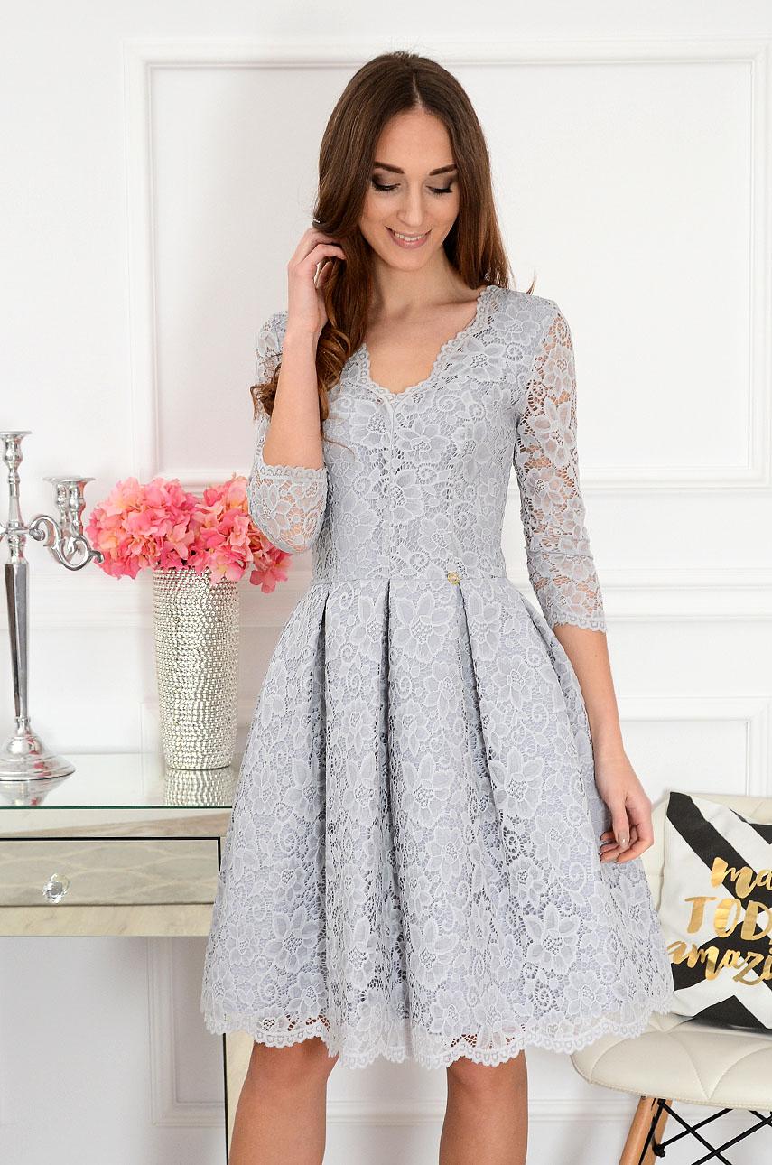 Sukienka koronkowa midi szara Jackie Rozmiar: XS