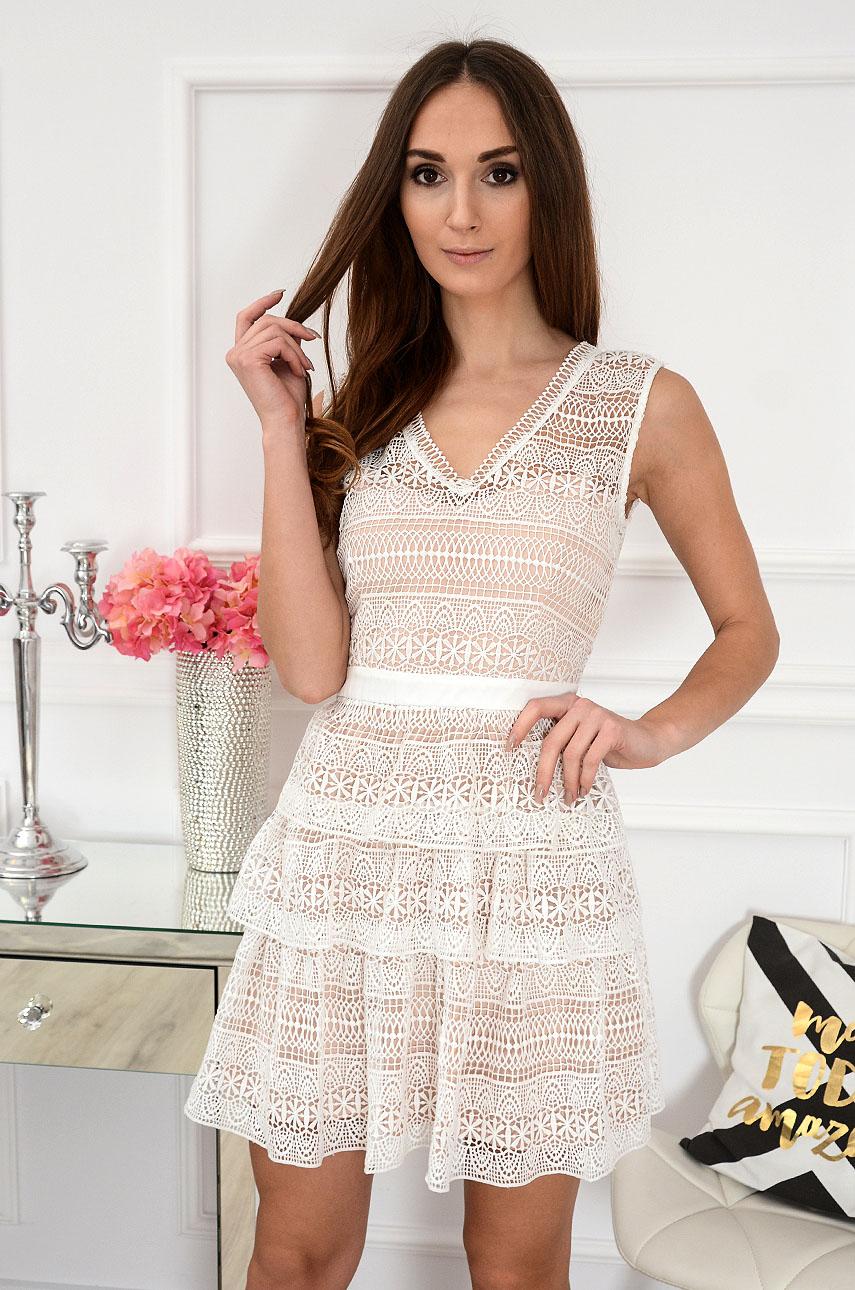 Sukienka koronkowa biało-beżowa Cancun Rozmiar: S