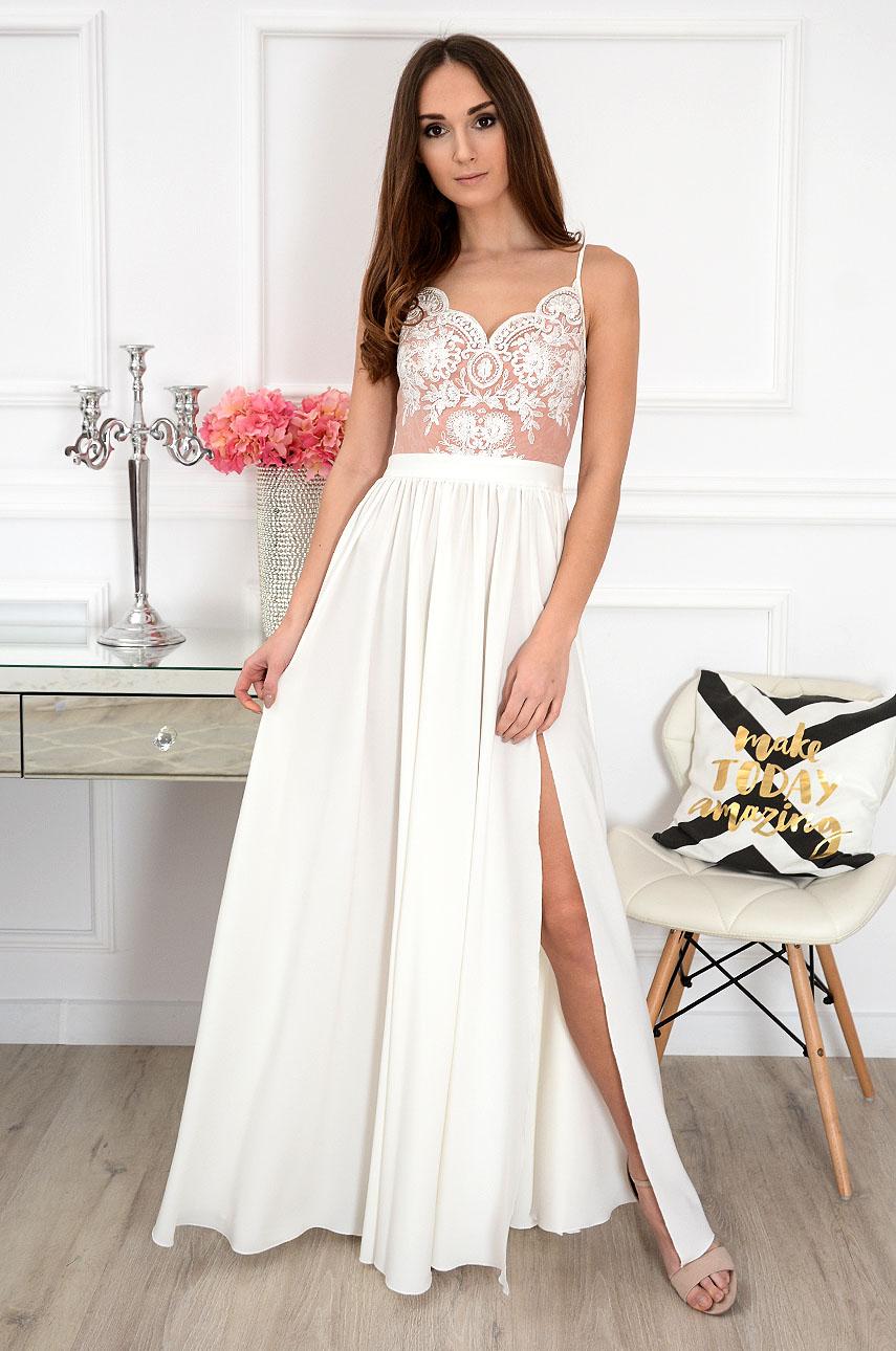 Sukienka maxi z gipiurą biało-beżowa Justina Rozmiar: XS