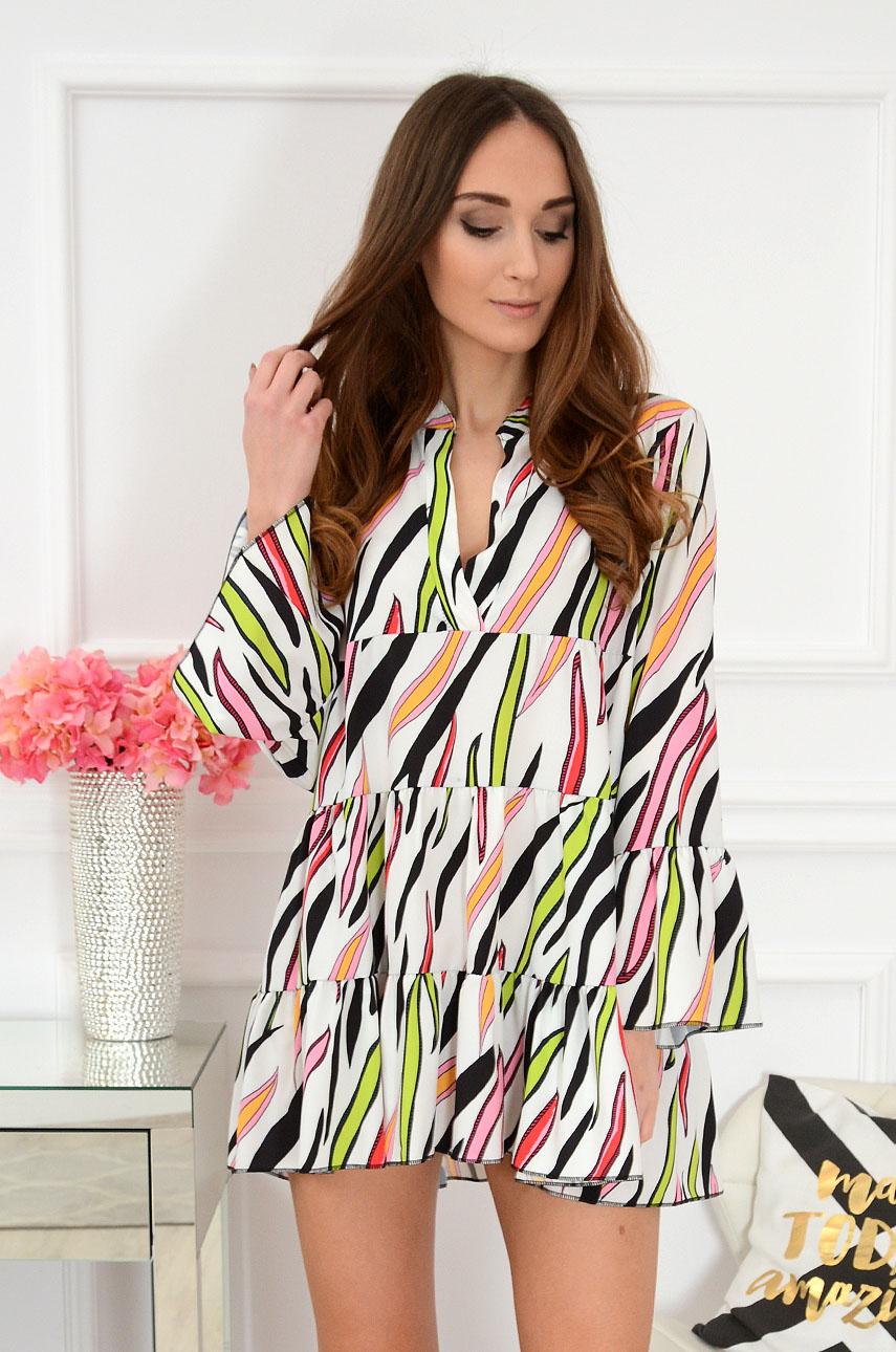 Sukienka z falban w kolorowe klisze biała Folly 2 Rozmiar: UNI