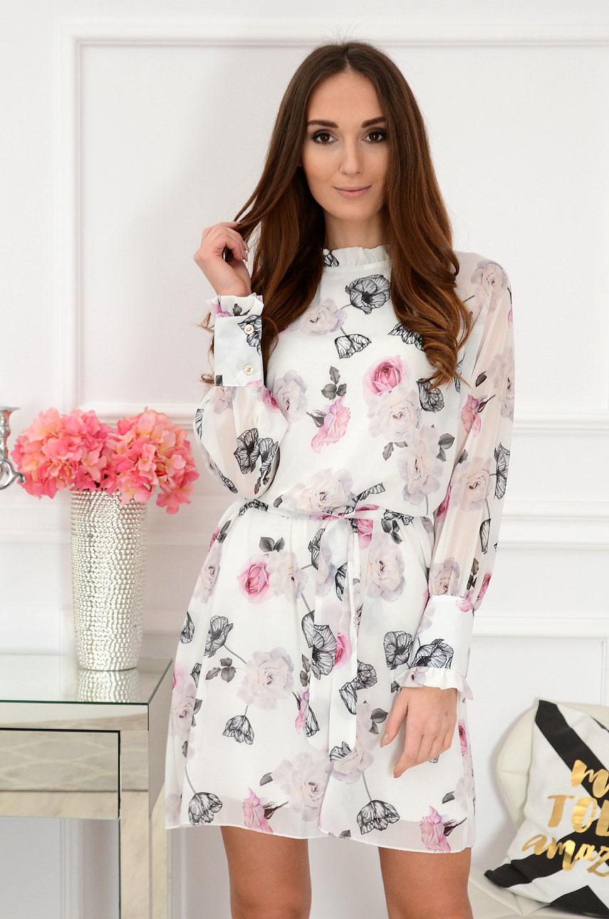 16cf94a344 Sukienka szyfonowa w kwiaty biała. Sklep internetowy cocomoda.pl