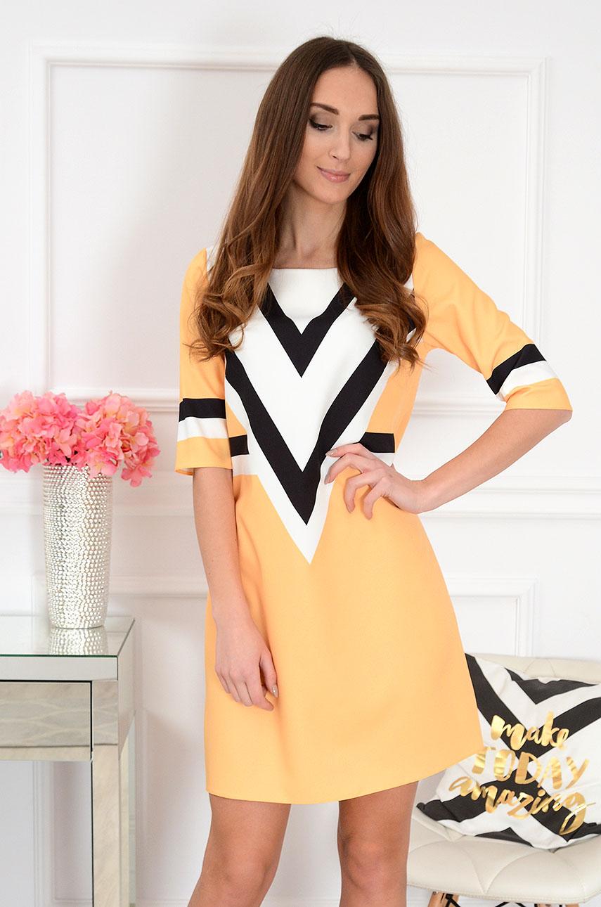 61a40b506c Sukienka trapezowa geometric żółta. Sklep internetowy cocomod...
