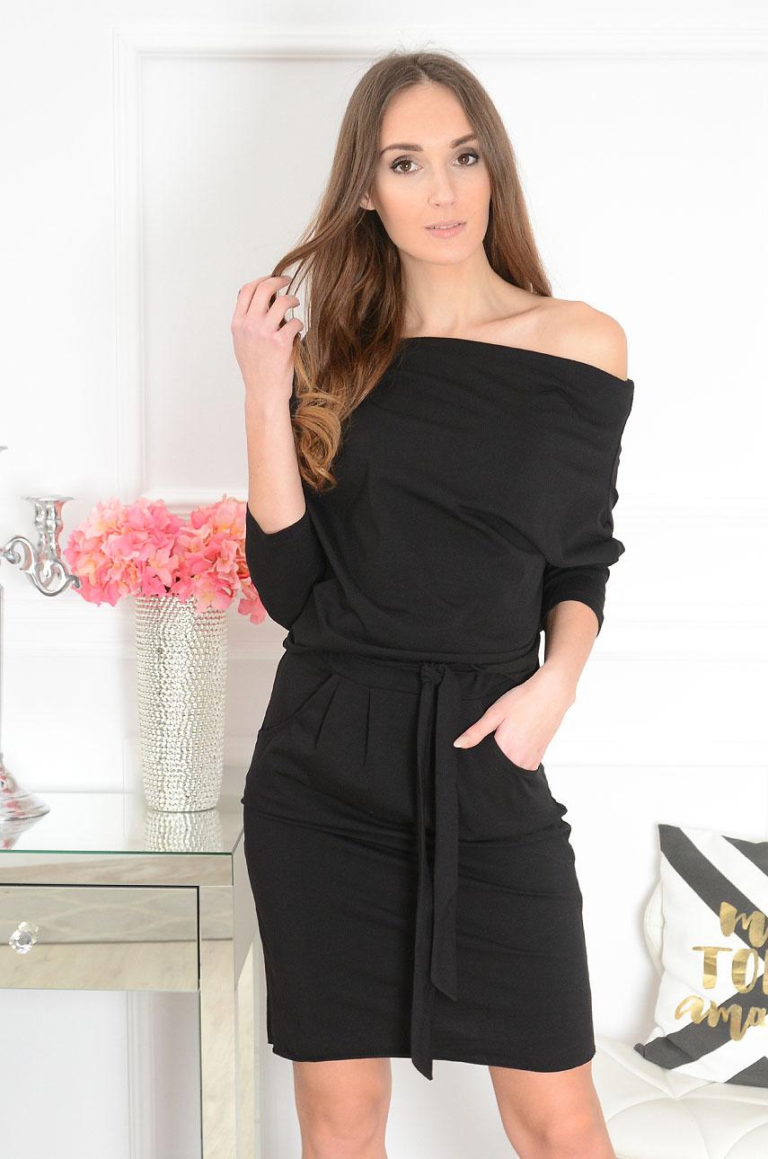Sukienka dresowa z paskiem czarna Fiorda Rozmiar: UNI