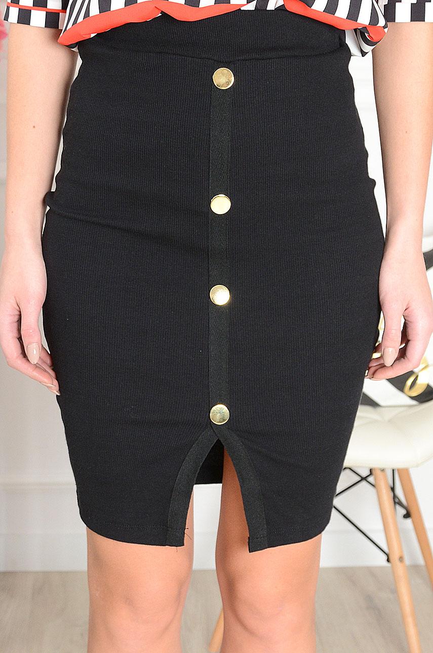 Spódnica prążkowana ze złotymi guzikami czarna