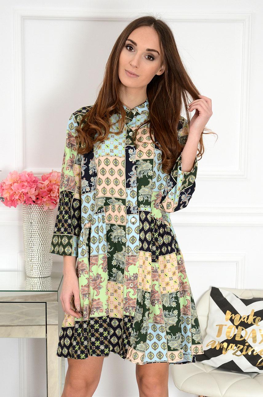 Sukienka oversize z falbaną w etno wzory zielona Loewe Rozmiar: UNI