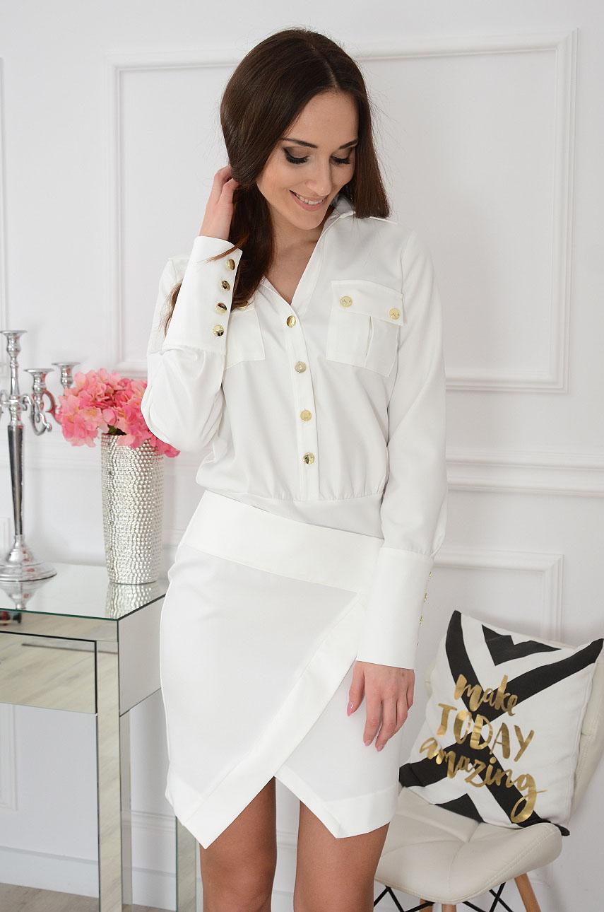 Sukienka asymetryczna kremowa Lamiko Rozmiar: M
