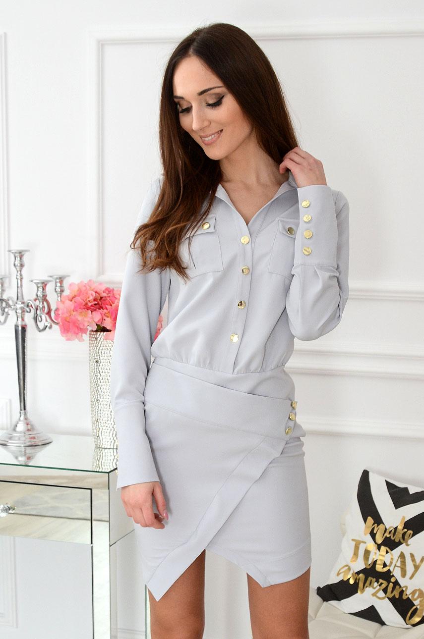 Sukienka asymetryczna szara Lamiko Rozmiar: M