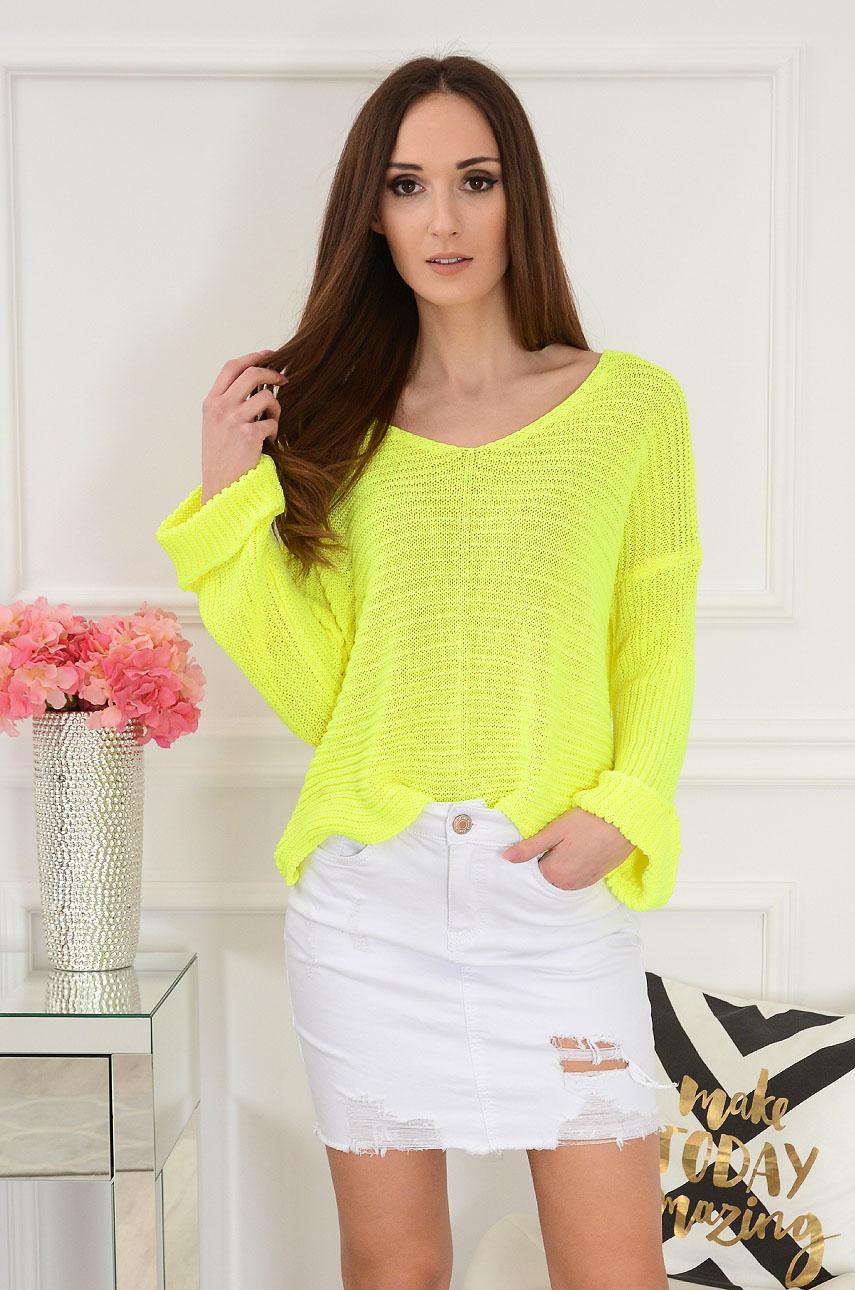 Sweterek z szerokimi rękawami żółty neon Taste Rozmiar: UNI