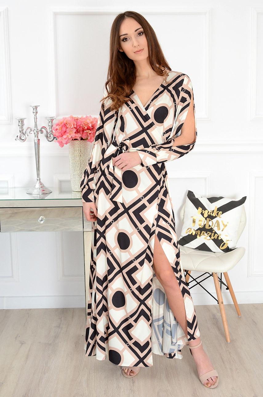 Sukienka maxi kopertowa w czarno-beżowe wzory Madona Rozmiar: L