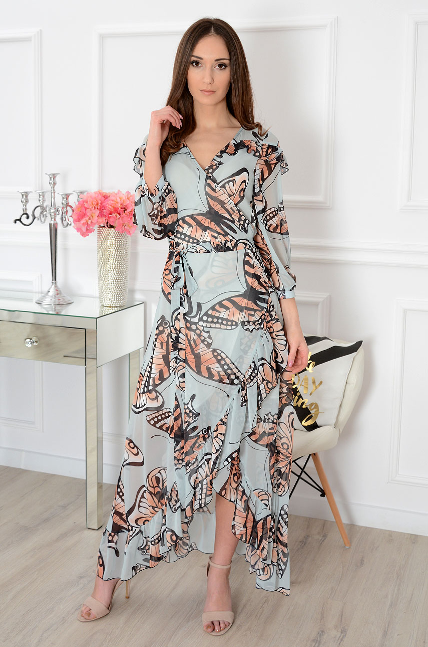 Sukienka maxi kopertowa błękitna w motyle Esma Rozmiar: M