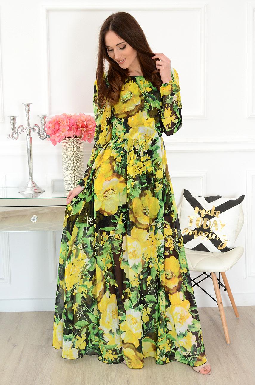 Sukienka maxi w żółte kwiaty Alisson Rozmiar: S