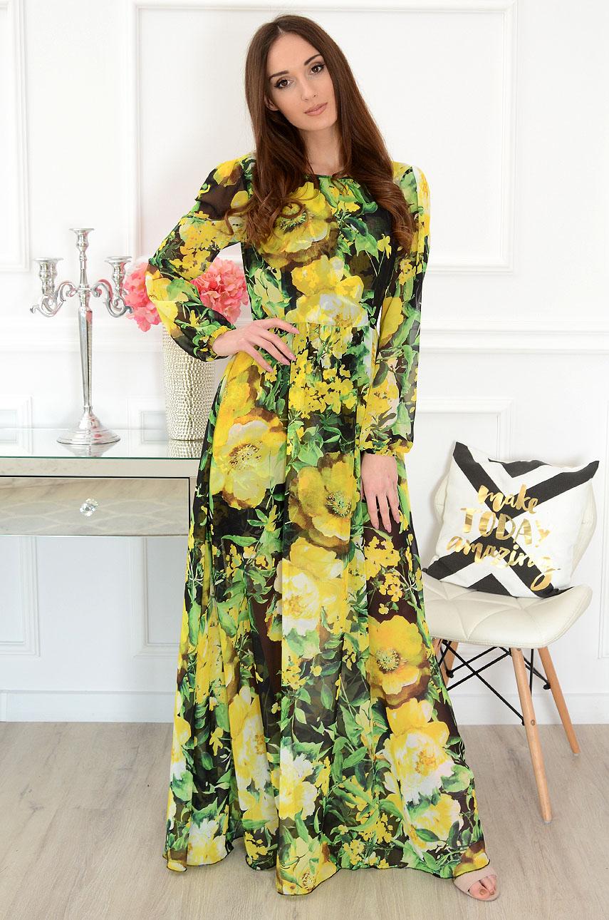 Sukienka maxi w żółte kwiaty Alisson