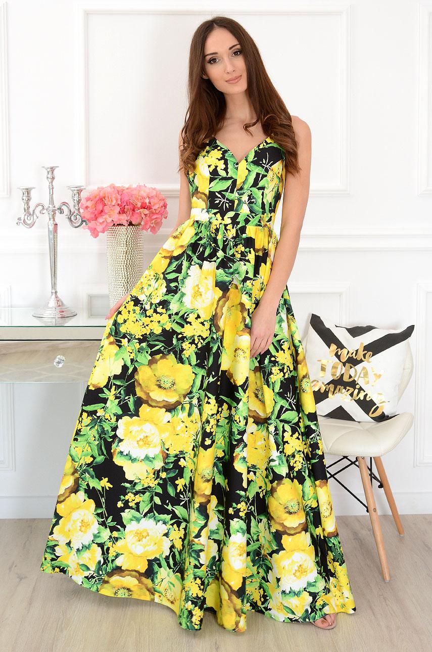 Sukienka maxi gołe plecy czarna w żółte kwiaty Tropicana Rozmiar: M