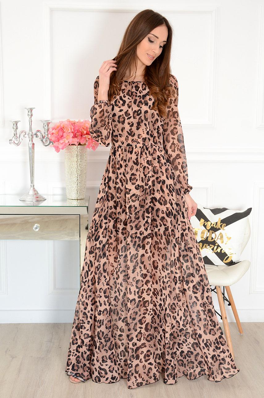 Sukienka maxi kamel w panterkę Alisson Rozmiar: S