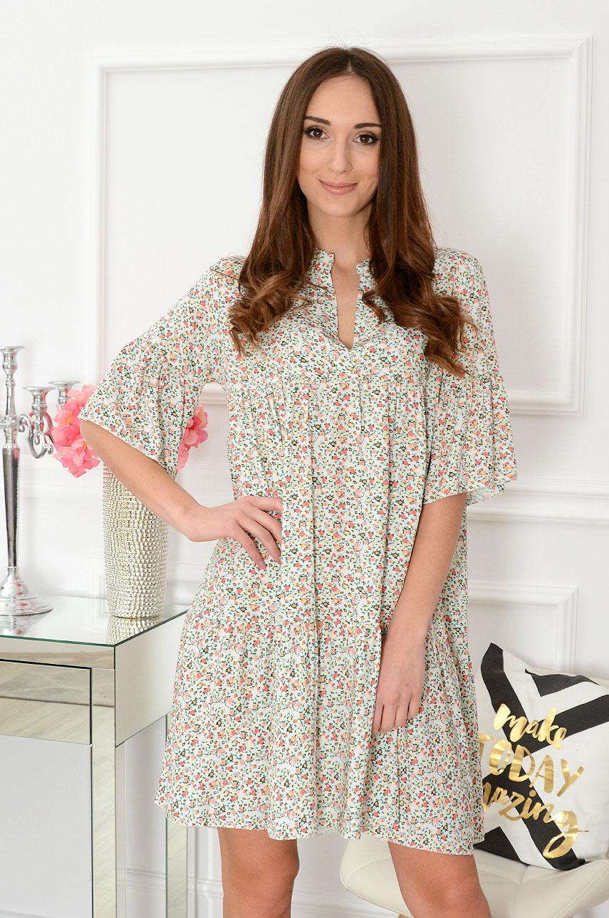 Sukienka oversize w drobne kwiatki kremowa Paveta Rozmiar: UNI