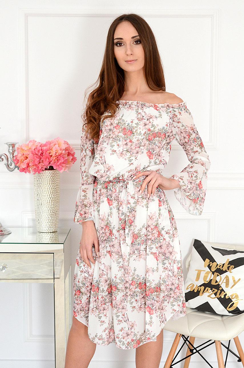 Sukienka hiszpanka midi w kwiaty biała Abba