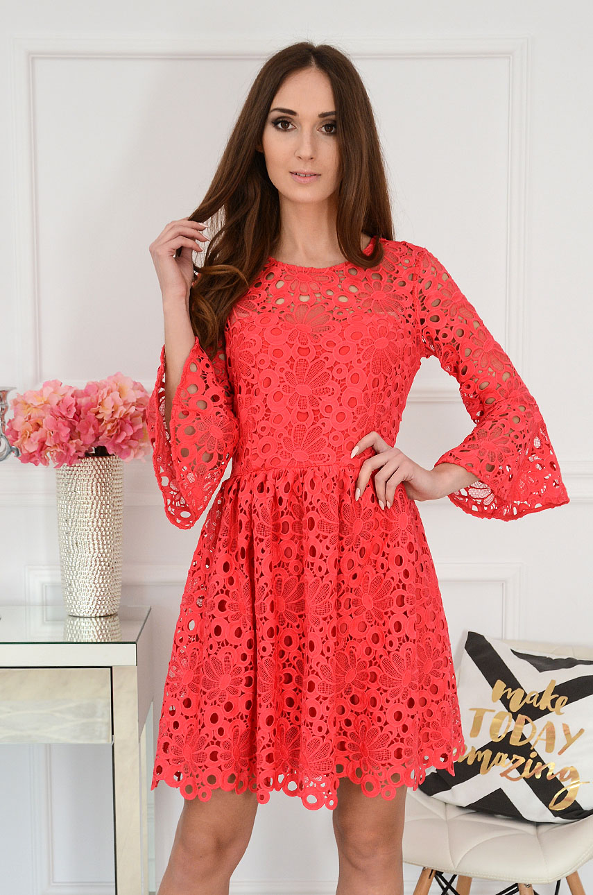 Sukienka koronkowa malinowa Praline Rozmiar: S