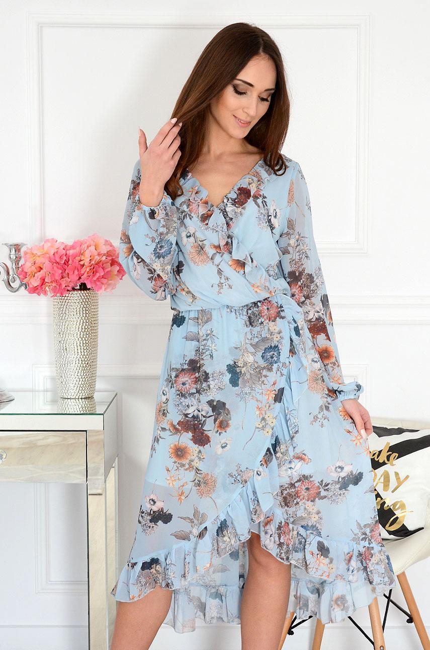 21e23719d18ed8 Sukienka szyfonowa kopertowa w kwiaty błękitna, Sklep cocomod...
