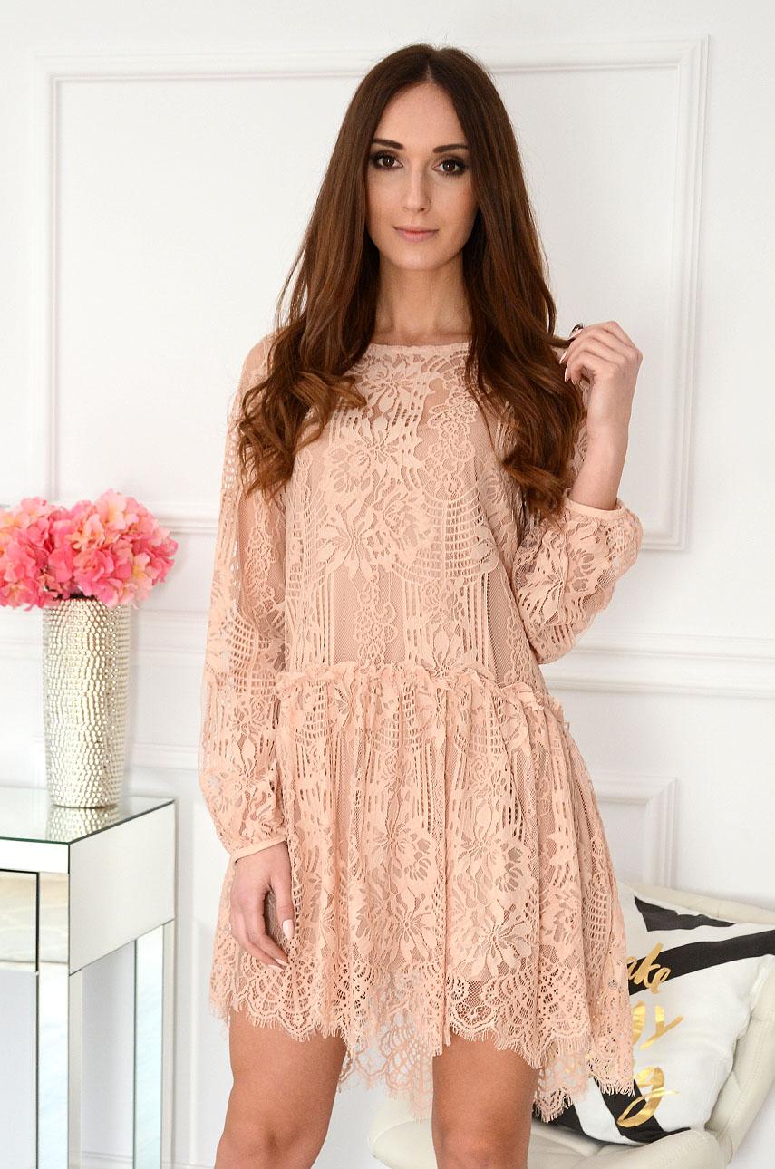 4a0d87d345 Sukienka oversize koronkowa beżowa Annie