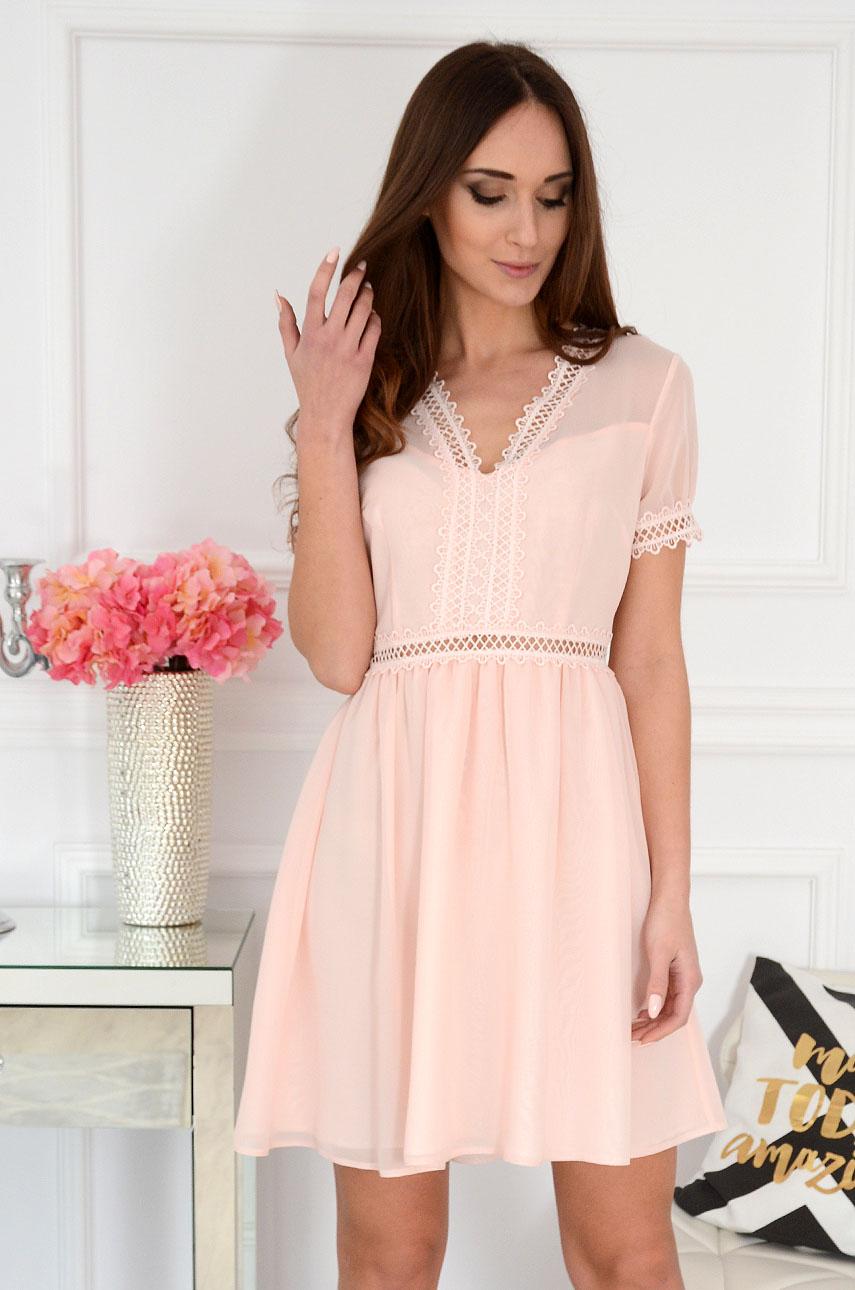 412cbbfb3 Elegancka sukienka z koronką pudrowy róż, Sklep internetowy c...
