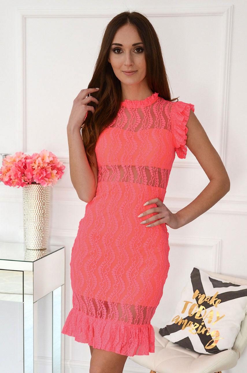 Sukienka koronkowa tuba midi neonowy róż Constance New Rozmiar: L