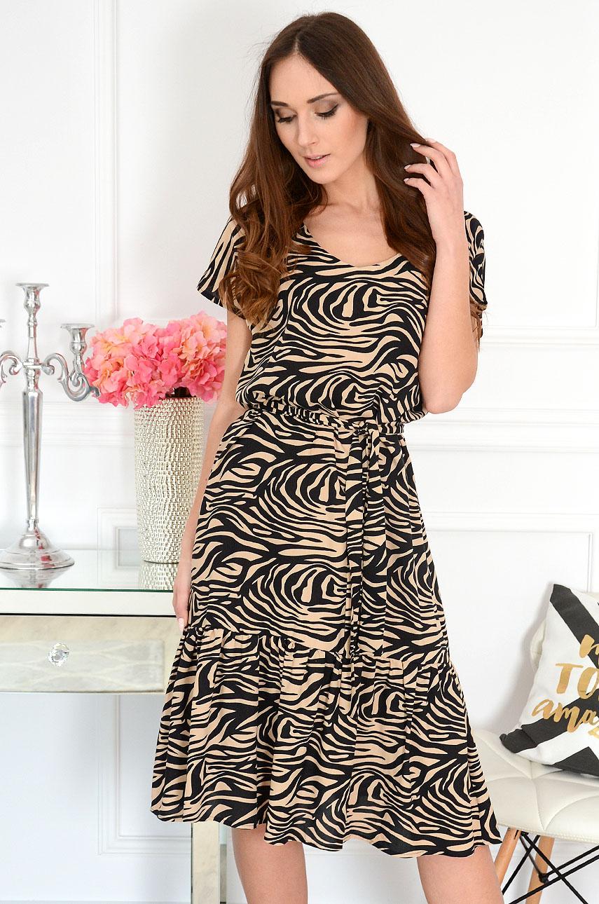 Sukienka midi z falbaną a'la zebra beż Milani Rozmiar: 3XL