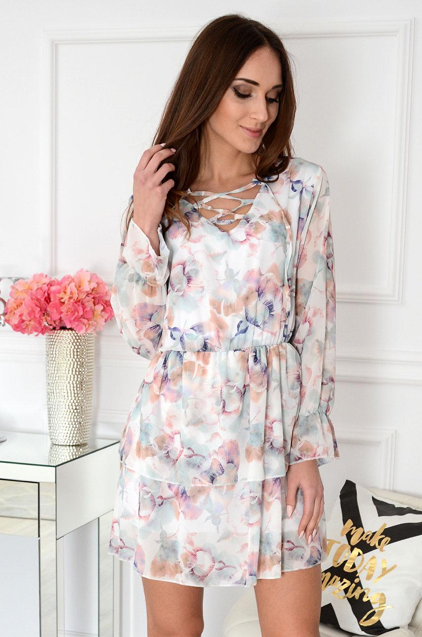 ae6bb97376 Sukienka szyfono. z falban w kwiaty kremowa Estela